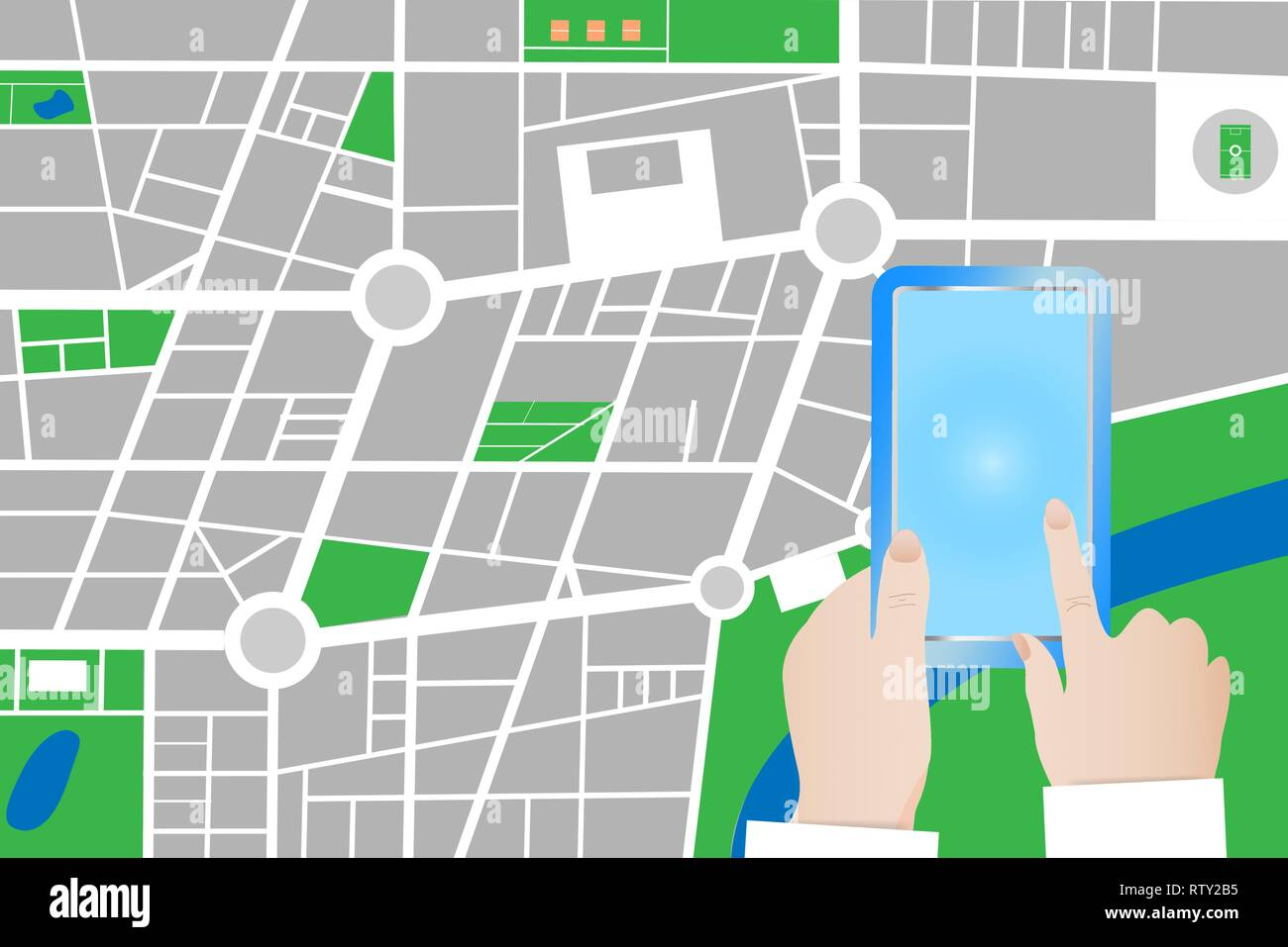 Blank Town Map Tourist is touching blank screen of a smart phone. City small