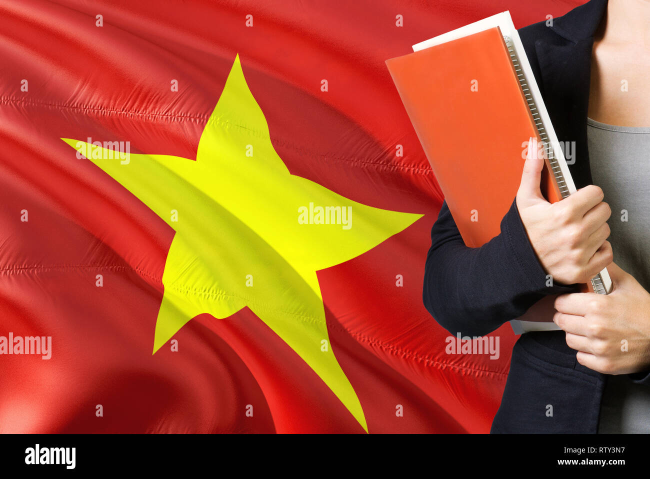 Learning Vietnamese language concept  Young woman standing