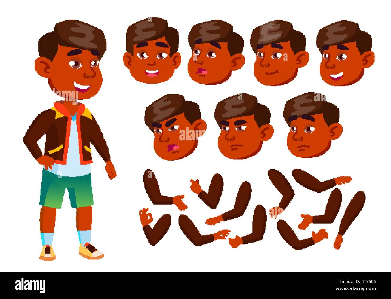 Indian Boy, Child, Kid, Teen Vector. Cheerful Pupil. Face Emotions, Various Gestures. Animation Creation Set. Isolated Flat Cartoon Character - Stock Image