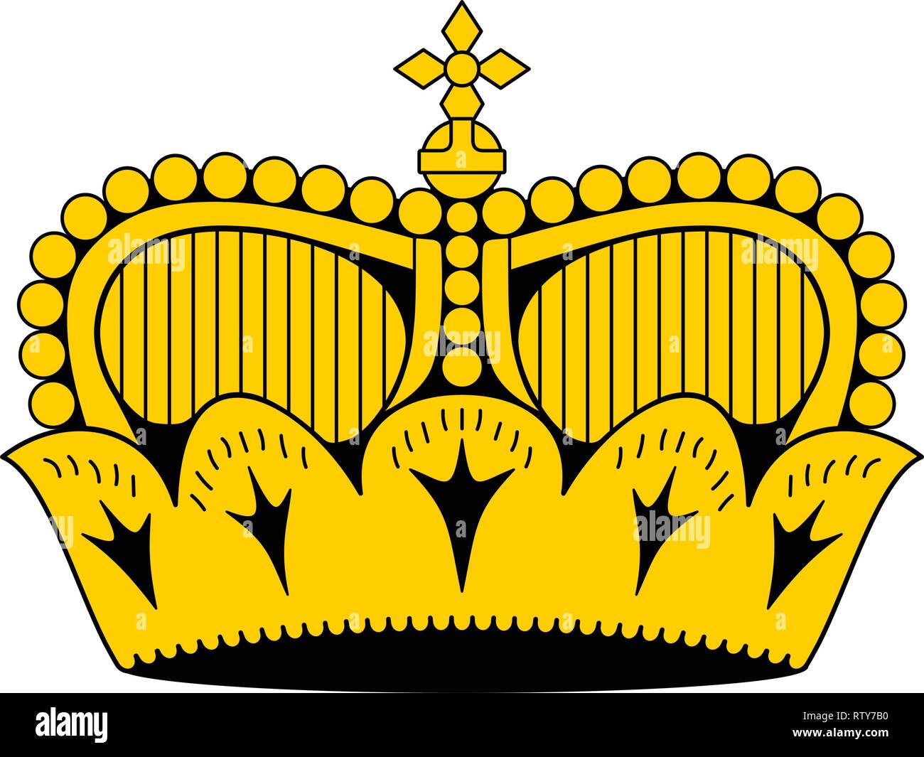 Liechtenstein princely hat (crown) as it appears on national flag. Correct proportions 4:3 - Stock Vector
