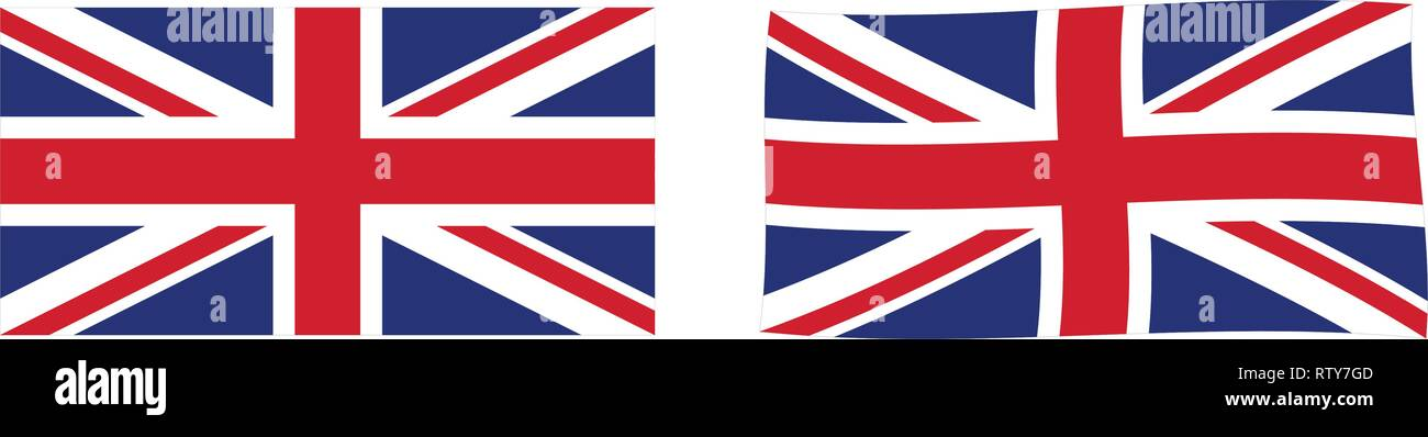 United Kingdom of Great Britain and Northern Ireland (Union Jack) flag. Simple and slightly waving version. Stock Vector