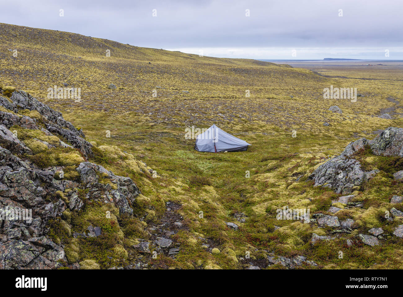 Wild camping in southeast part of Iceland - Stock Image