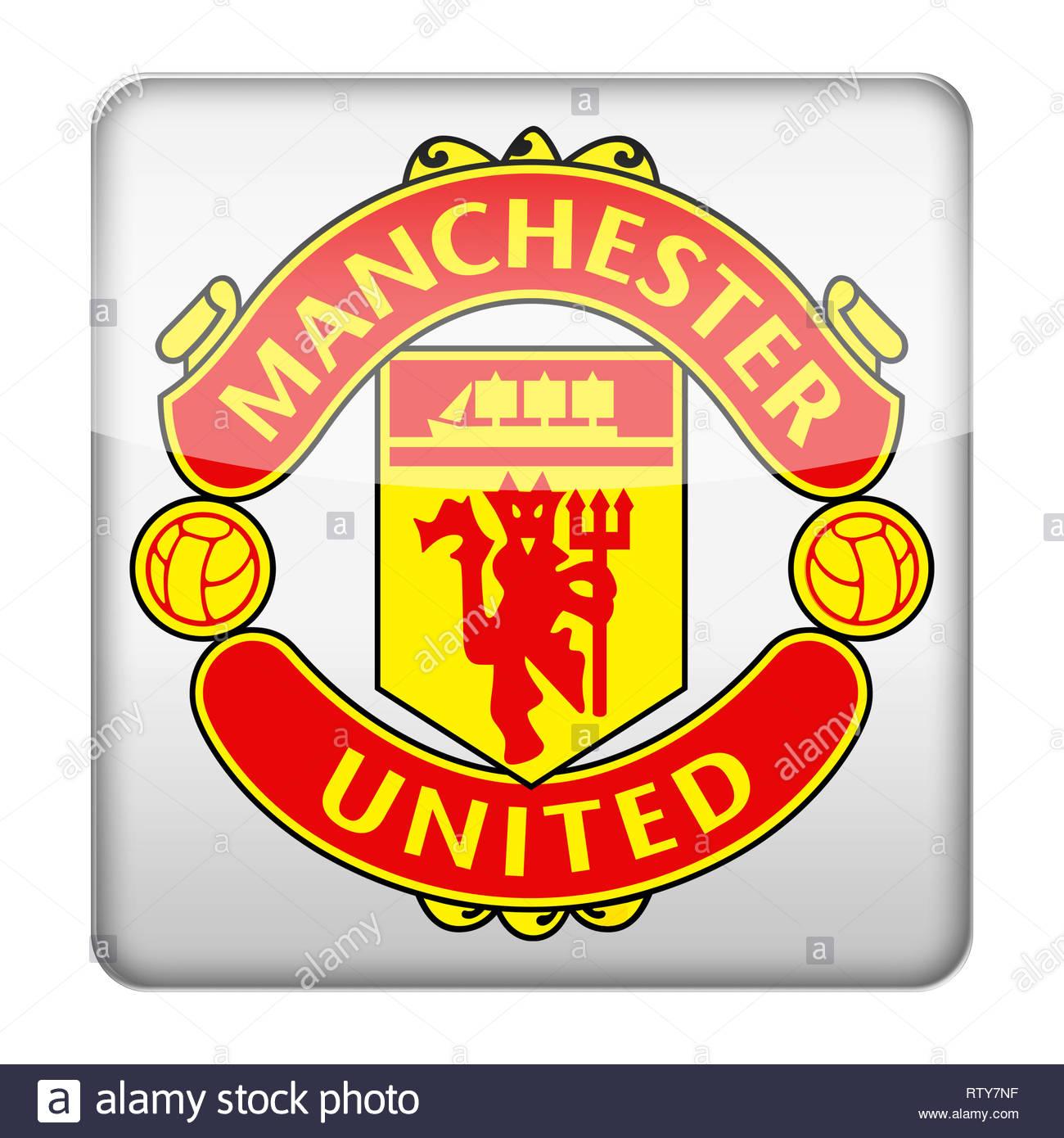 Manchester United logo - Stock Image