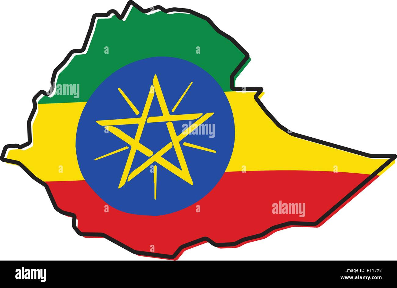 Simplified map of Ethiopia outline, with slightly bent flag under it. - Stock Vector