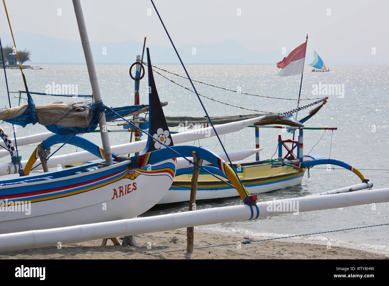 Colorful sailing ship in Java, Indonesia. - Stock Image