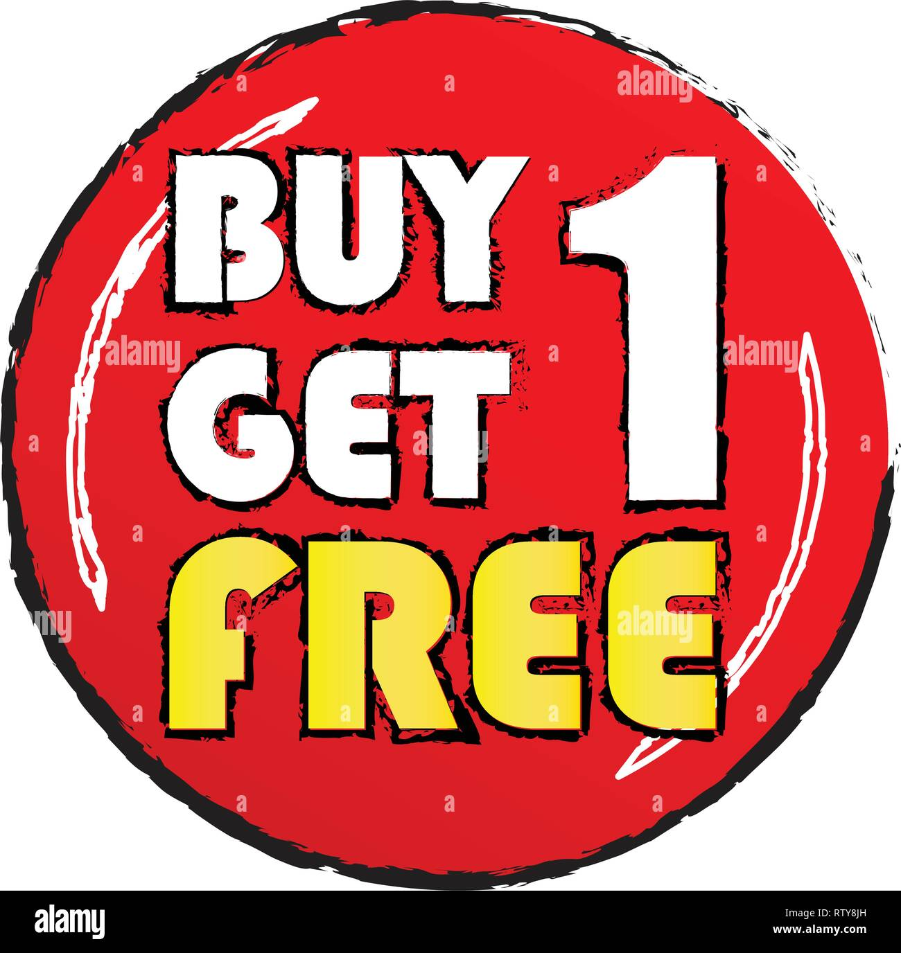 aa6b225c1b Buy one get 1 free sticker. White and yellow letters in red circle with  grunge edge.