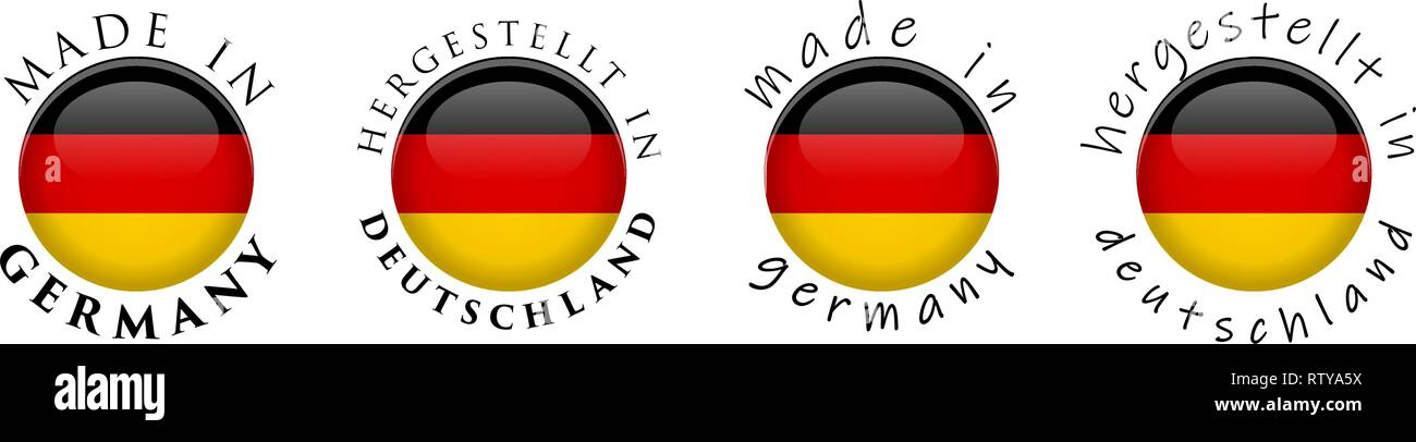 Simple Made in Germany/ Hergestellt in Deutschland (German translation) 3D button sign. Text around circle with national flag. Decent and casual font - Stock Vector