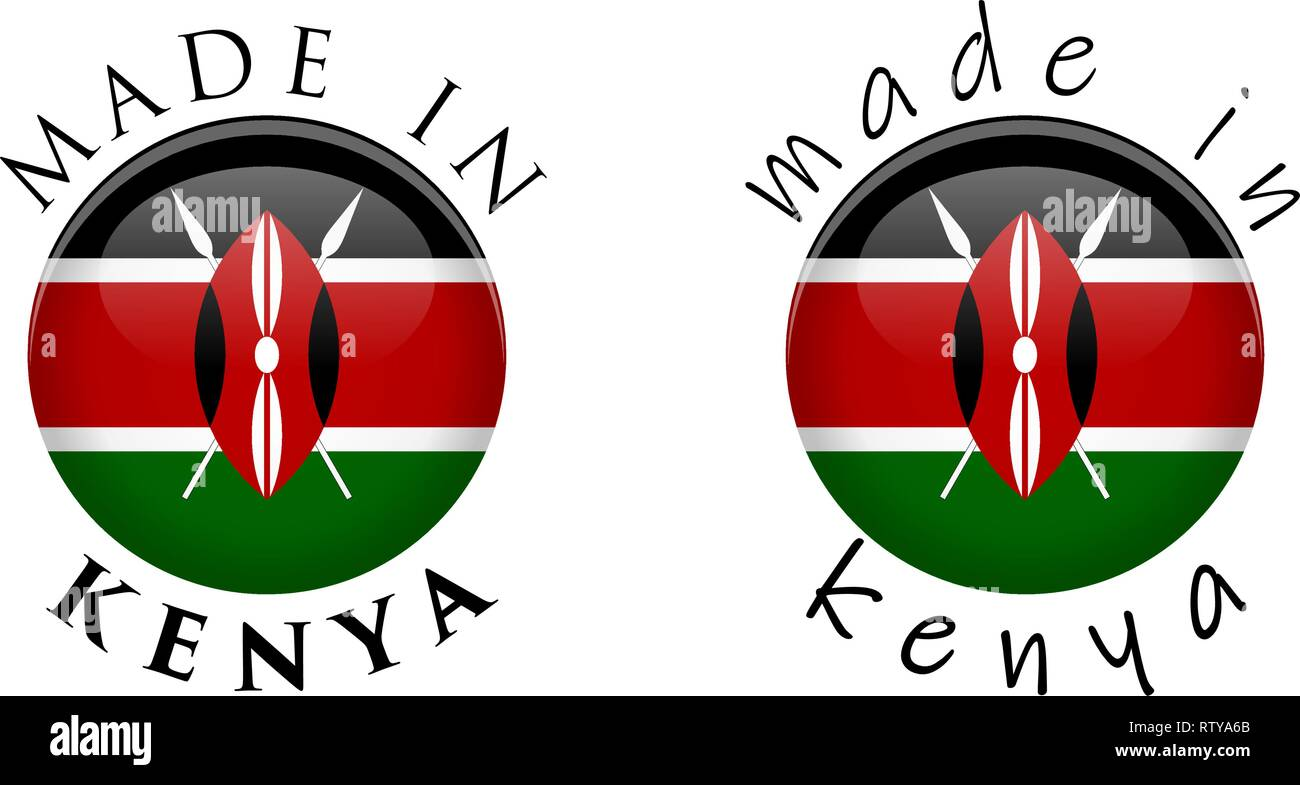 Simple Made in Kenya 3D button sign. Text around circle with Kenyan flag. Decent and casual font version. Stock Vector