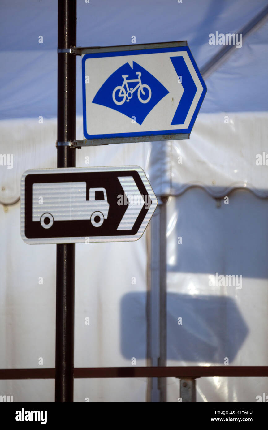 road,sign,lorry,park,cycle,way,track,lane, - Stock Image