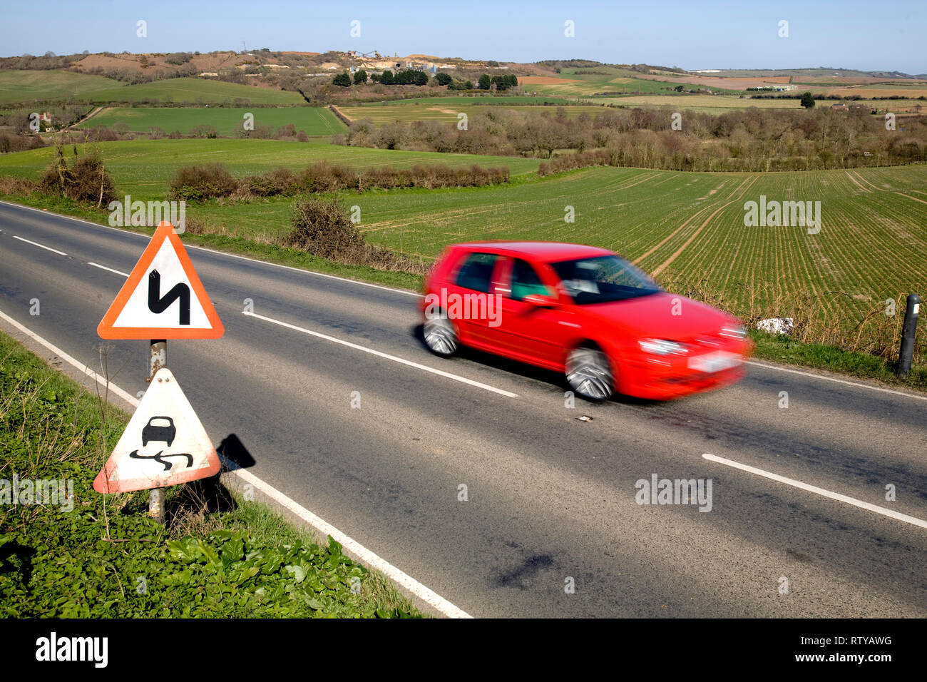 Traffic, Road Signs, Road Markings, A3020, Blackwater > Rookely > Godshill, Isle of Wight, England, UK, a - Stock Image