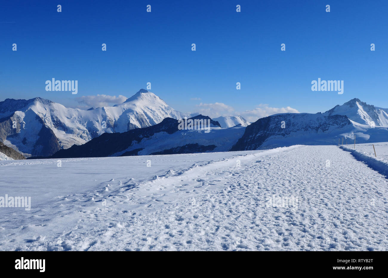 Switzerland: Mönchshut mountain panoramic view to the melting glaciers and permafrost due to global climate change - Stock Image