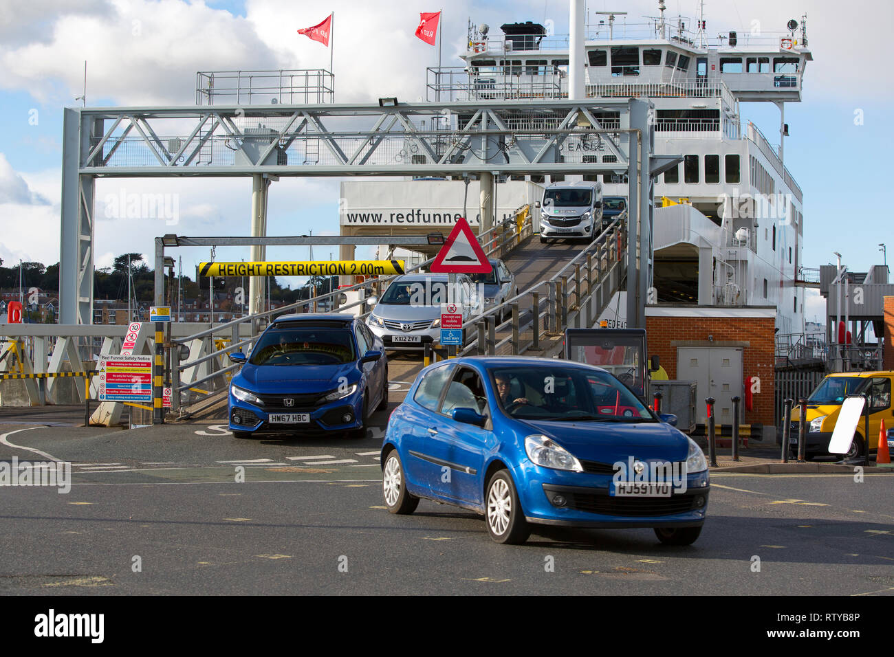 Vehicles, being, unloaded, from, Red Funnel, ferry, terminal, East Cowes, Isle of Wight, England, UK, - Stock Image
