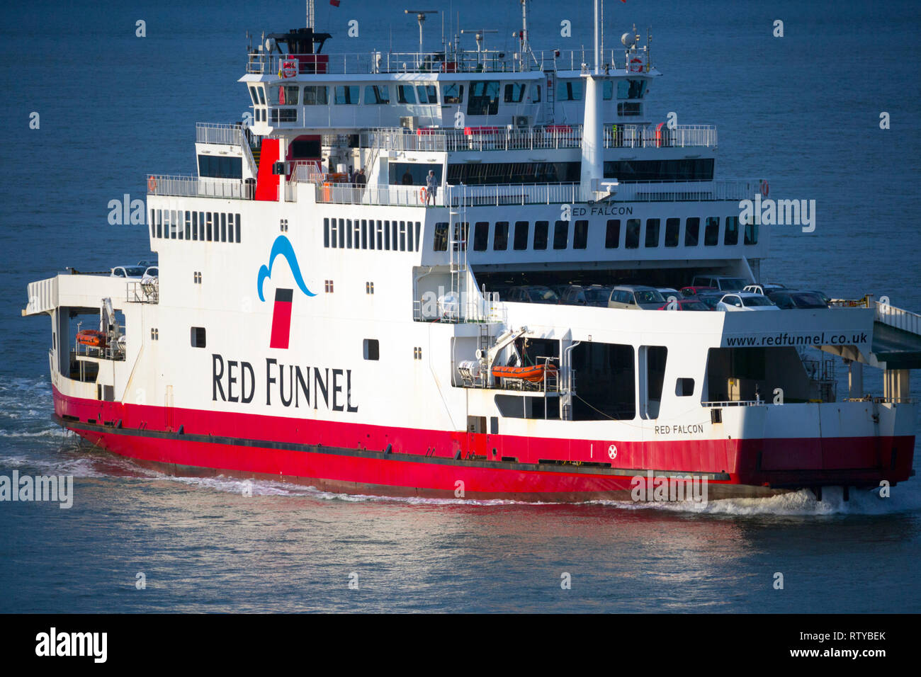 Red,Funnel,Falcon,Southampton,Cowes,car,ferry, passenger, coach, lorry,truck,transport,sea,ocean,supermarket, food,supplies, - Stock Image