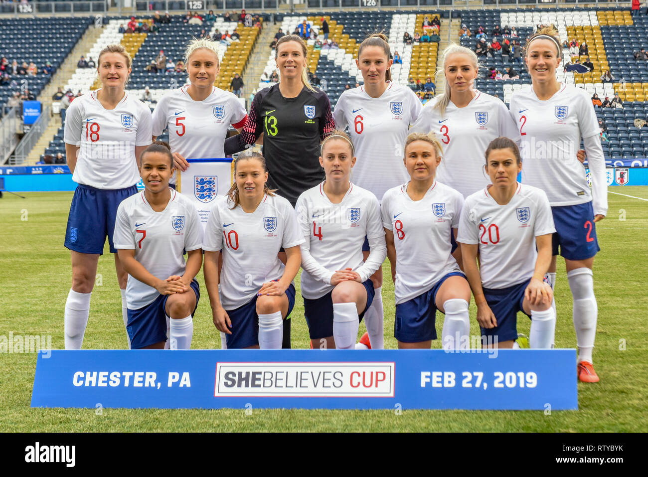 England Women's Football National Team at the SheBelieves Cup Beth Mead Alex Greenwood Rachel Daly Ellen White Nikita Parris Steph Houghton - Stock Image