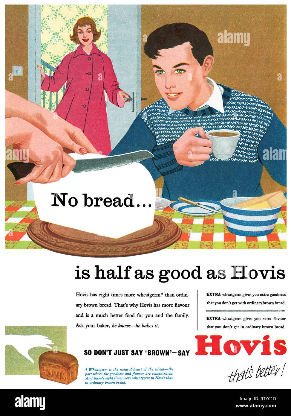 1958 British advertisement for Hovis bread. - Stock Image