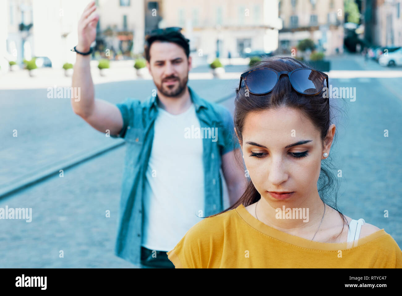 Couple fighting and about relationship problems - Stock Image