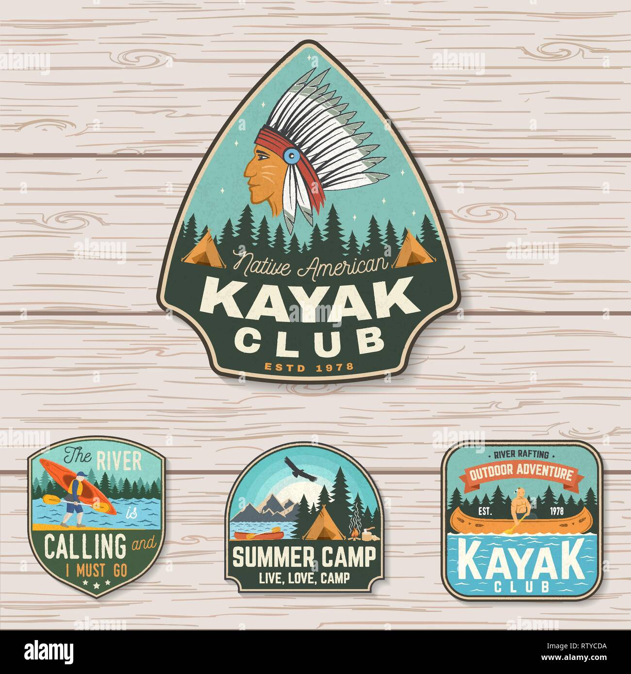 Set of summer camp, canoe and kayak club badges. Vector. Concept for patch, stamp. Retro design with camping, mountain, river, american indian and kayaker silhouette. Extreme water sport kayak patches - Stock Vector