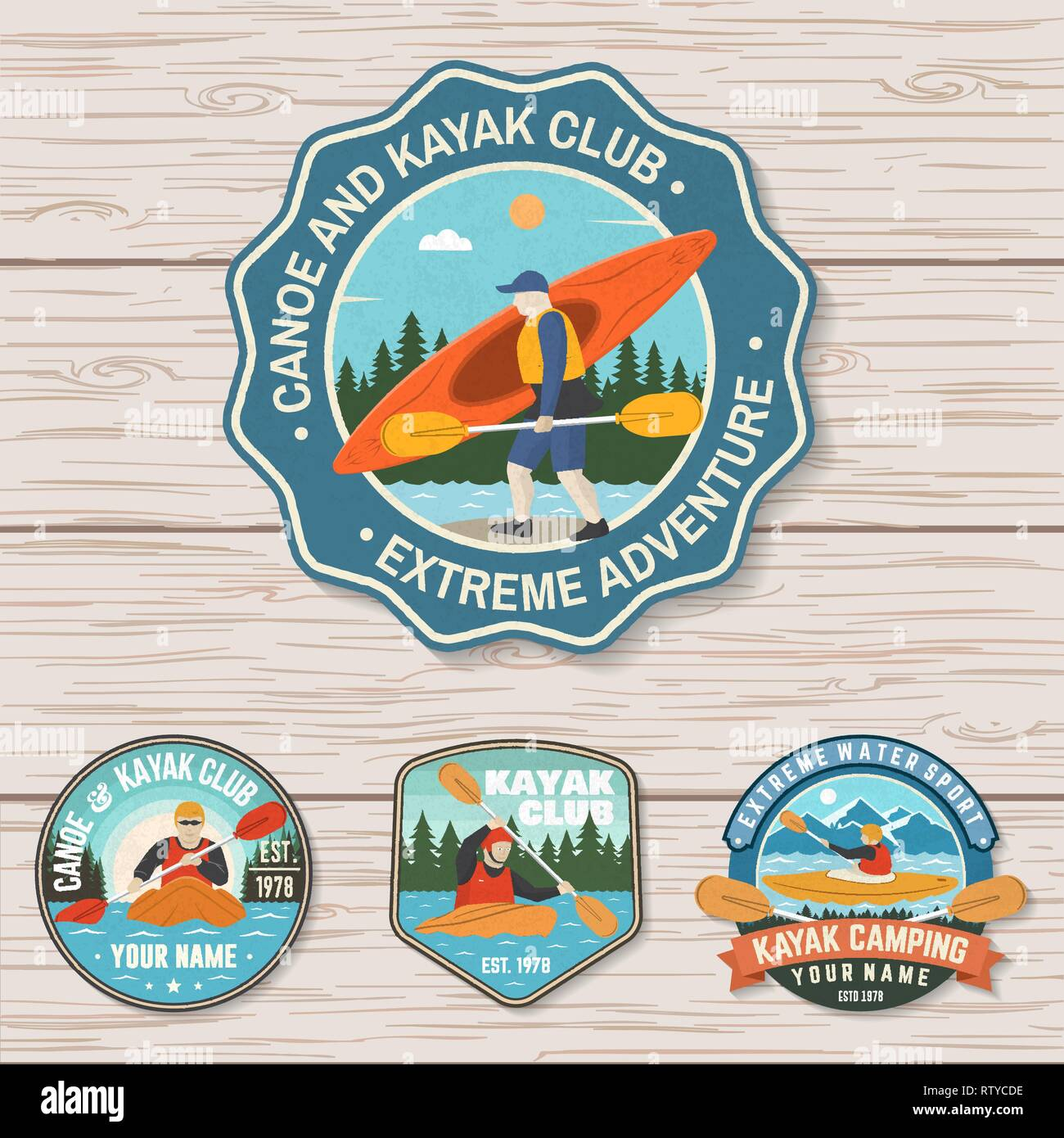 Set of canoe and kayak club badges Vector. Concept for patch, shirt, print, stamp or tee. Vintage design with mountain, river, forest and kayaker silhouette. Extreme water sport kayak patches - Stock Vector
