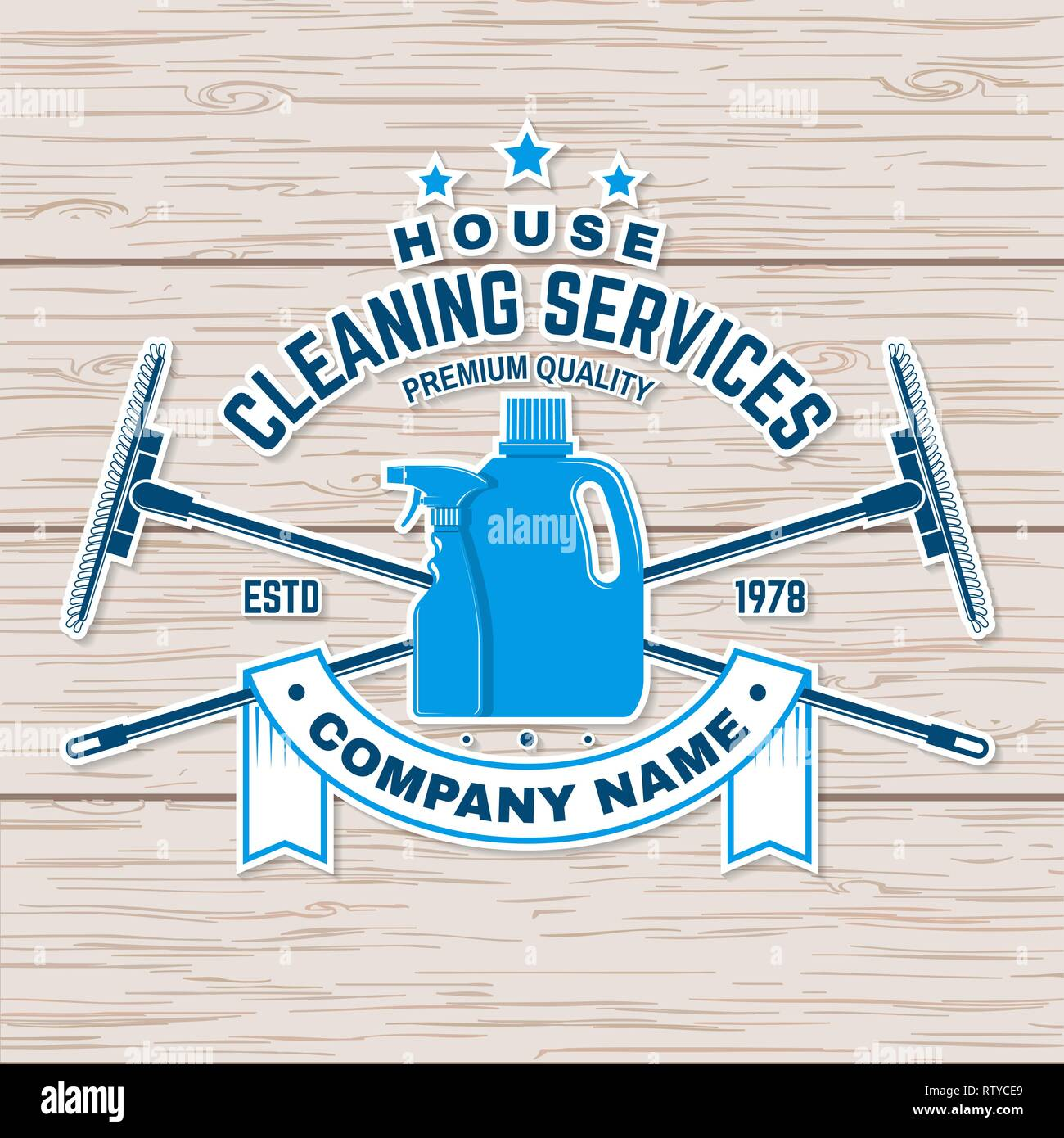 Cleaning company badge, emblem  Vector illustration  Concept for