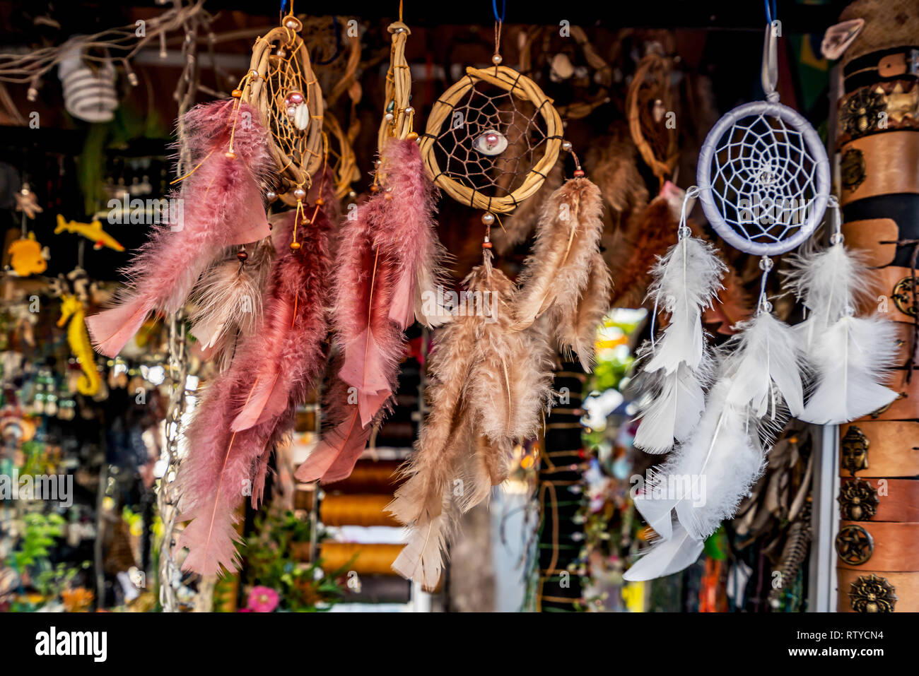 Dreamcatcher, colorful handmade native amulet used for decoration and spiritual protection - Stock Image