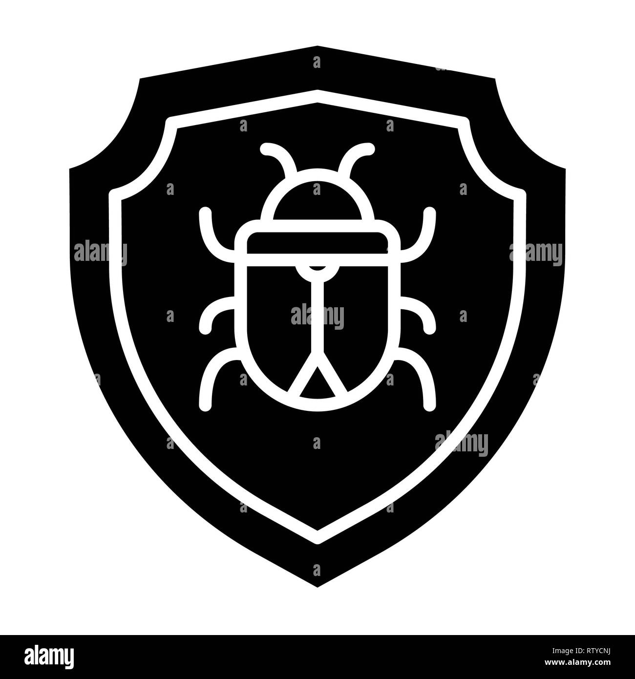 Antivirus Icon, Vector Illustration, Technology Glyph - Stock Image
