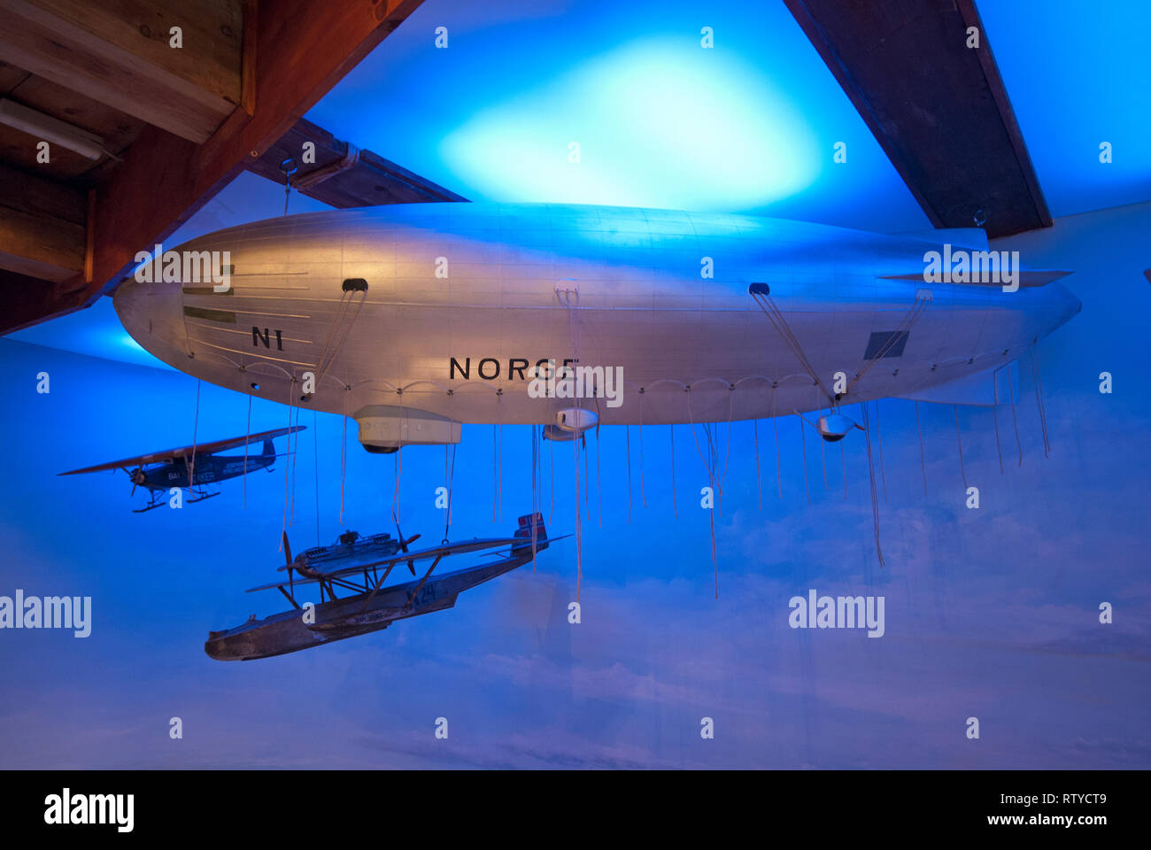 Model of Norge airship, Polar Museum (Polarmuseet) in Tromso, Troms County, Norway - Stock Image