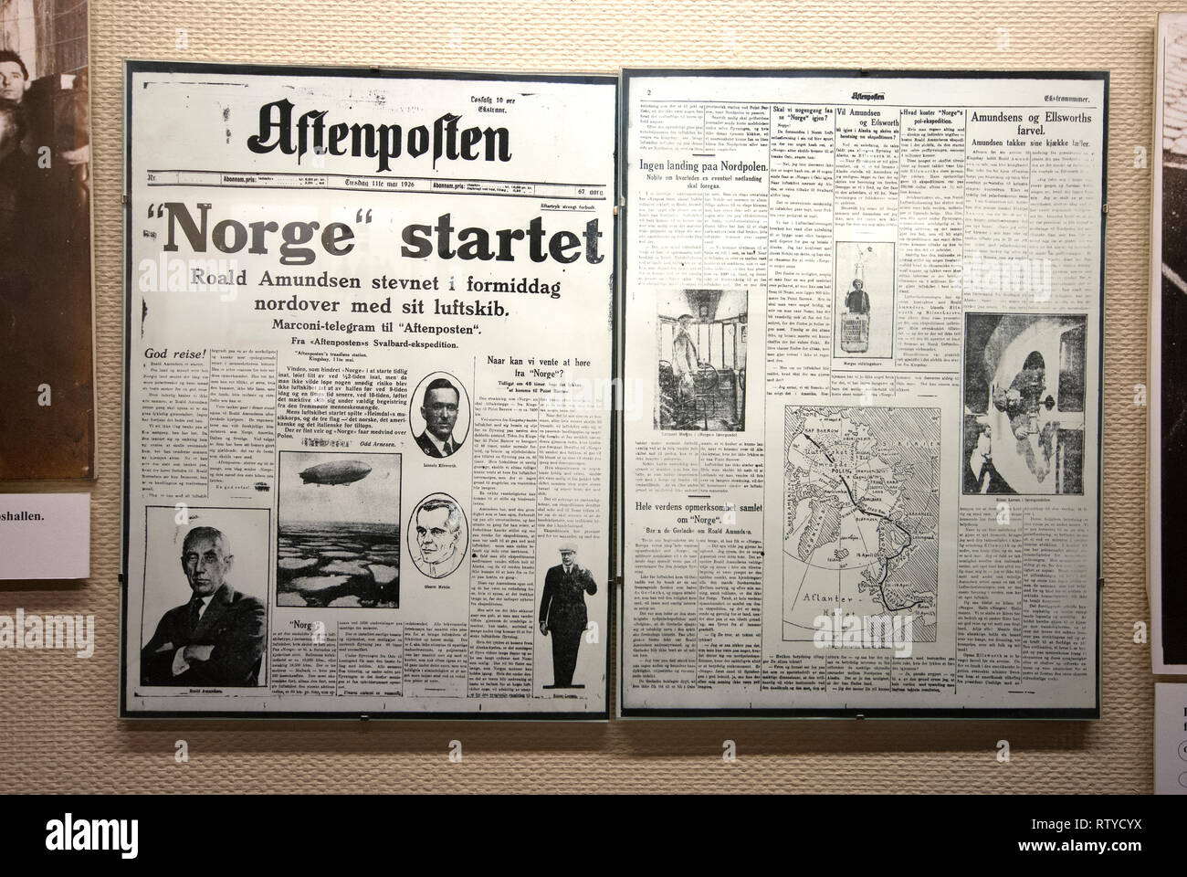 Norwegian newspaper Aftenposten reporting the travel of Norge airship to North Pole (1926), Polar Museum (Polarmuseet) in Tromso, Troms County, Norway - Stock Image