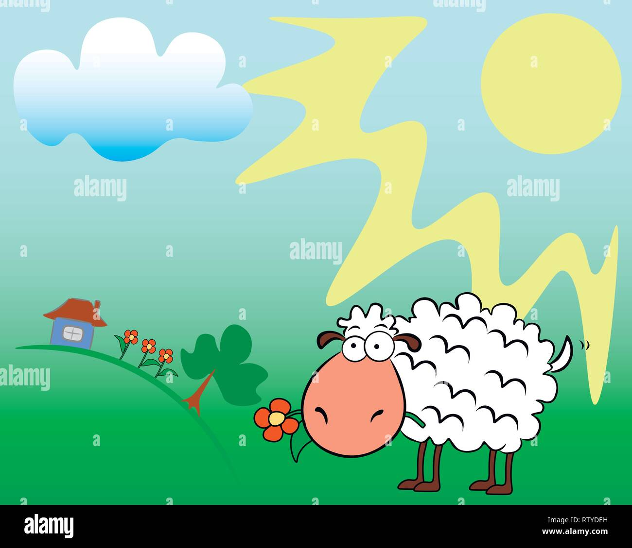 On a summer sunny field, a sheep chews a flower. - Stock Vector