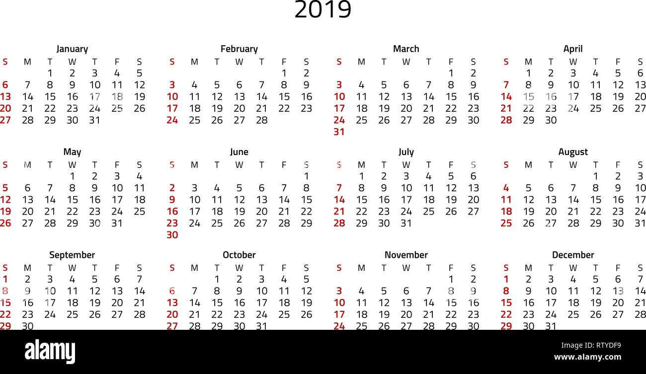 Simple 2019 calendar, week starts on Sunday that is highlighted in red. Stock Vector