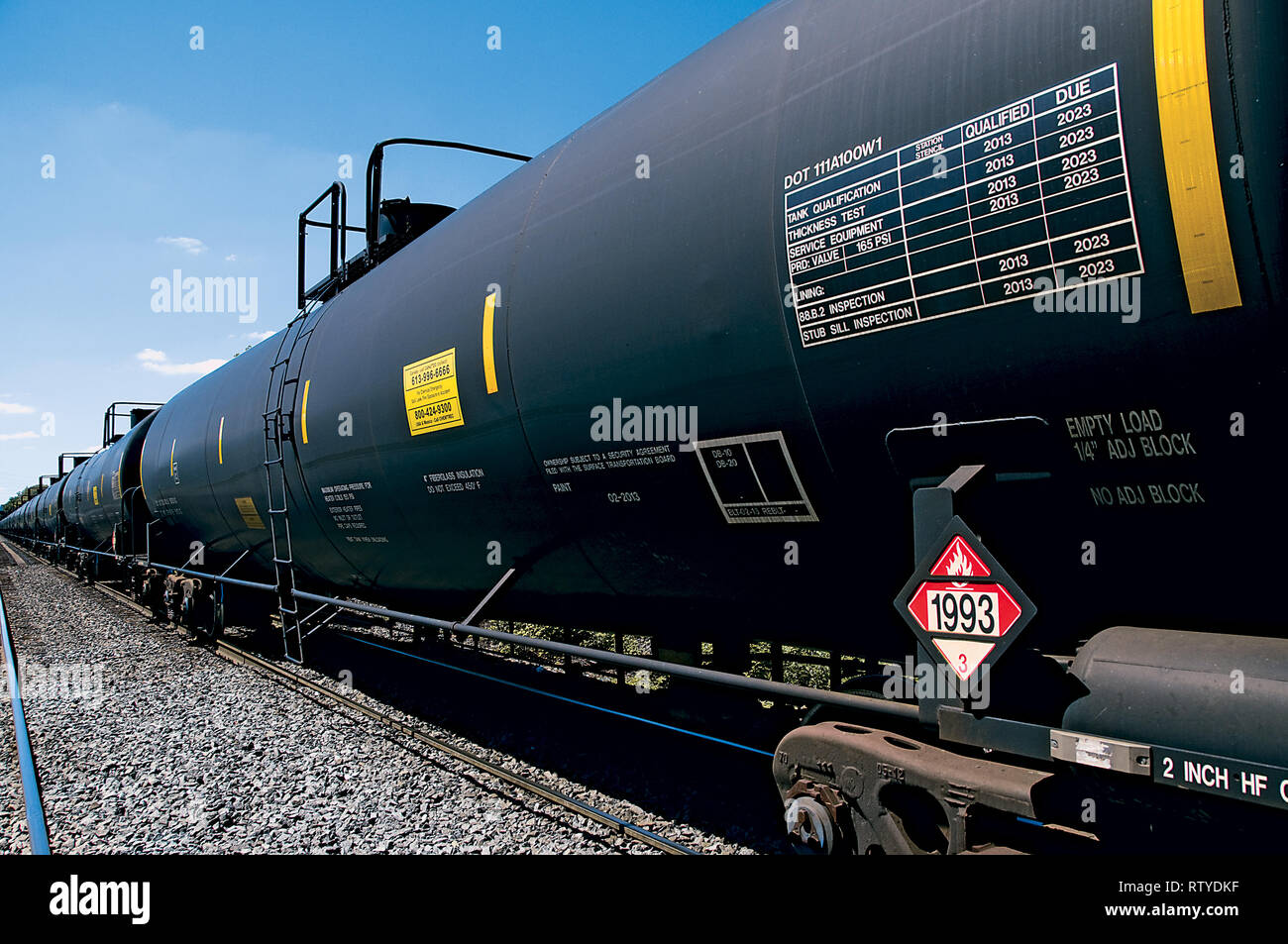 Hazardous Materials Tank Cars on Train - Stock Image