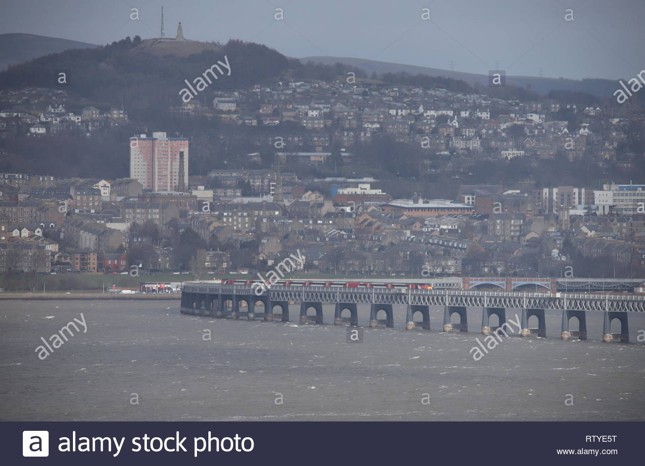 High speed LNER train crossing Tay Rail Bridge Scotland  February  2019 Stock Photo