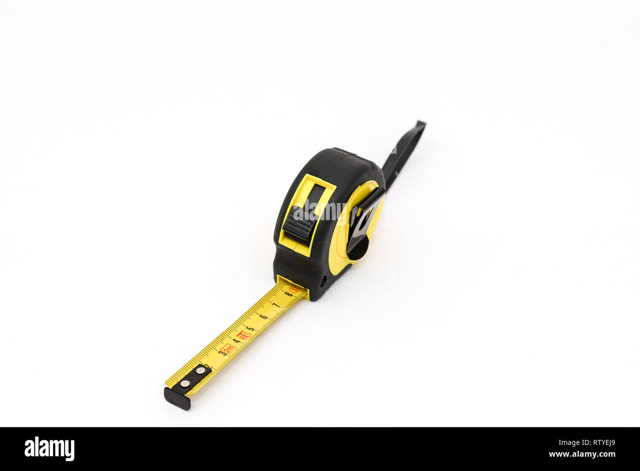 Yellow tape measure, measuring - Stock Image