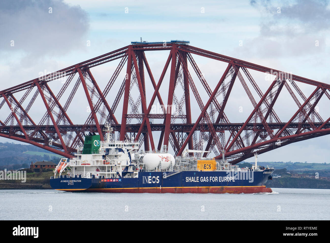 INEOS gas tanker transporting shale gas from USA to Grangemouth refinery in Scotland , past the Forth Bridge on the Firth of Forth in Scotland, UK - Stock Image