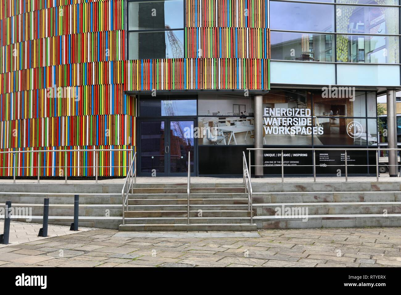 LEEDS, UK - JULY 11, 2016: Modern architecture of Leeds Dock mixed developement area in Leeds, UK. The area is owned by Allied London property company - Stock Image