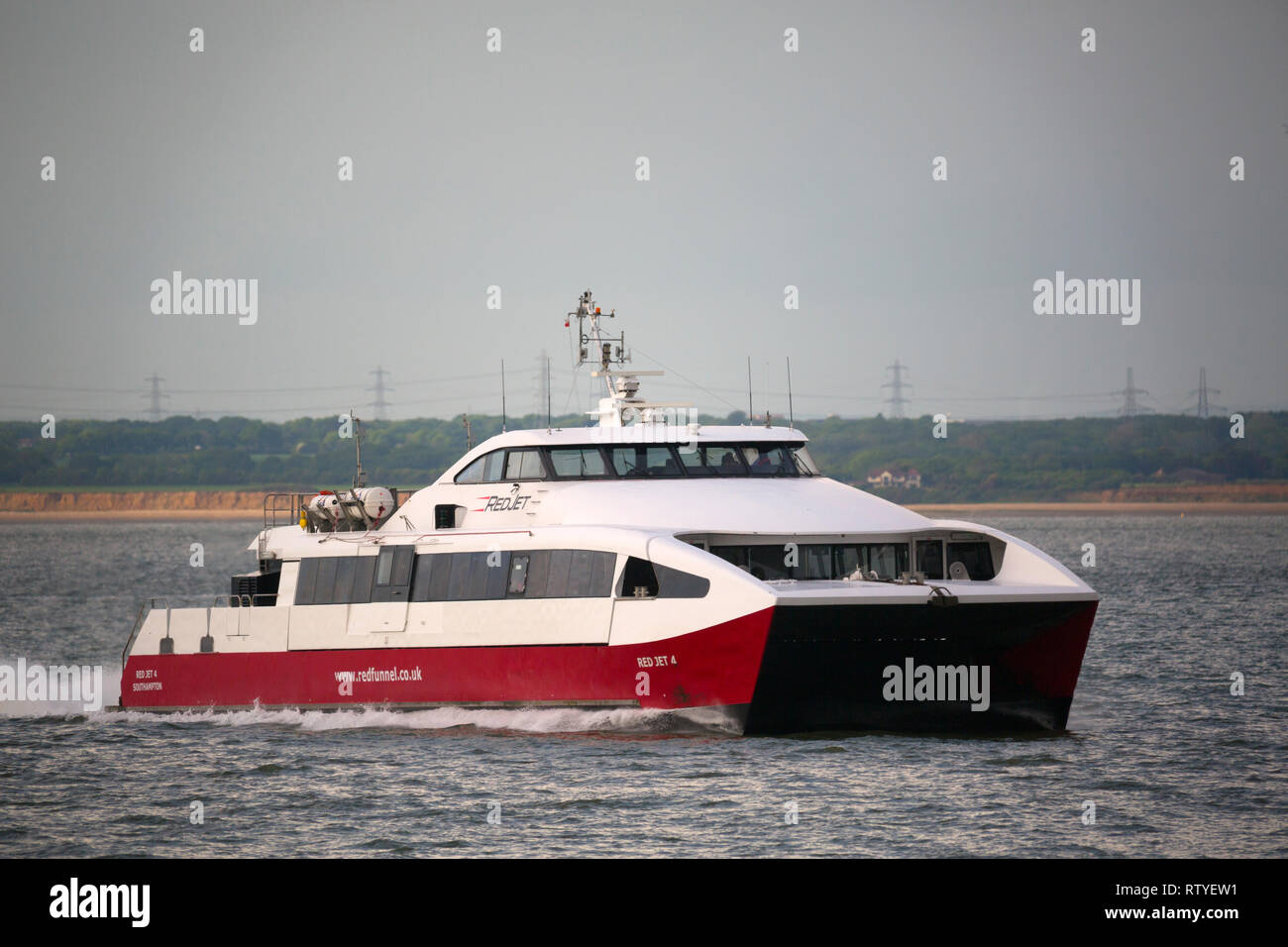 Red Jet, Funnel, fast, passenger, ferry, Cowes, isle of Wight, England, UK, - Stock Image