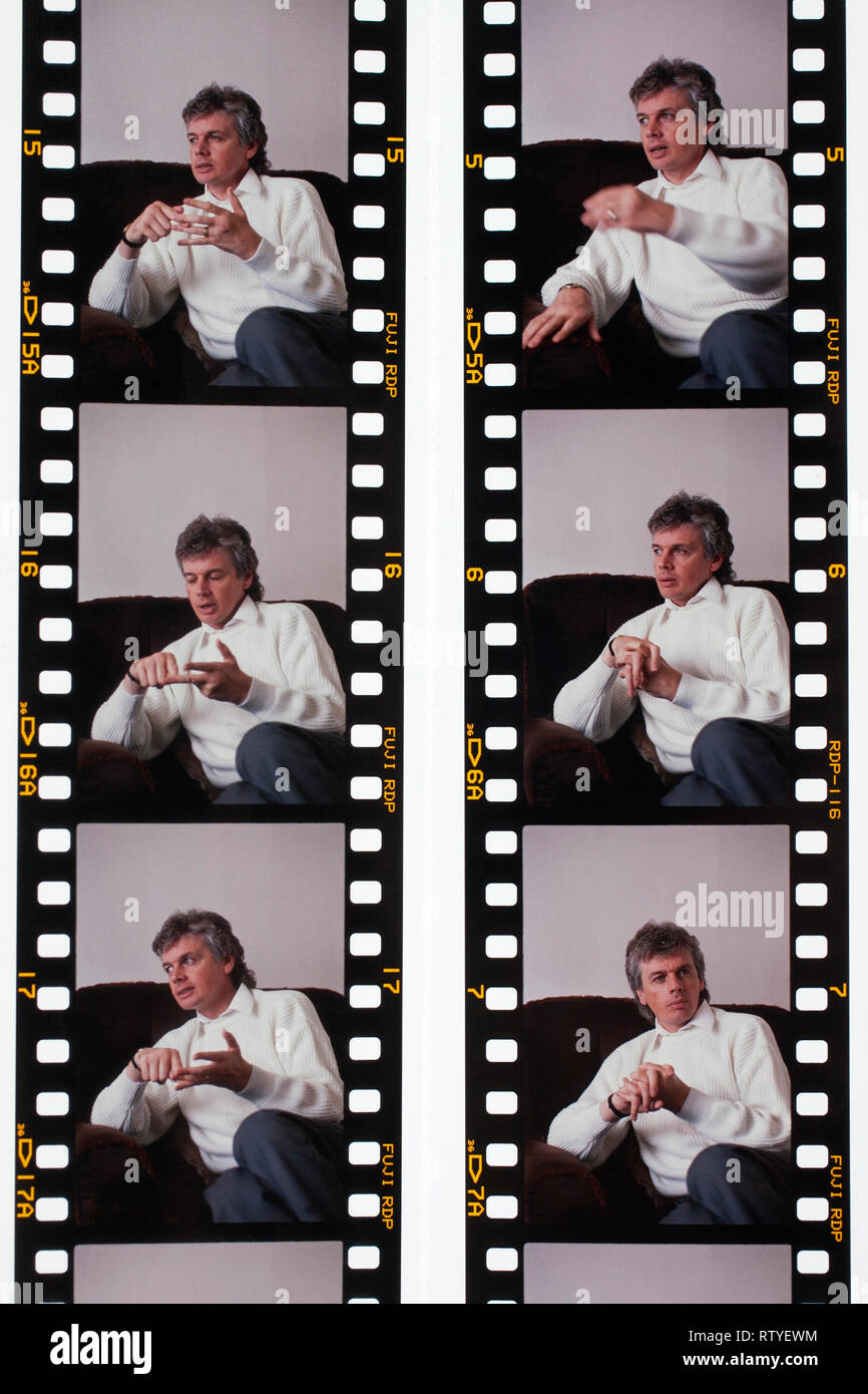 Montage, of interview, photographs, of young, David Icke, 1990, at home, Ryde, Isle of Wight, England, UK, - Stock Image