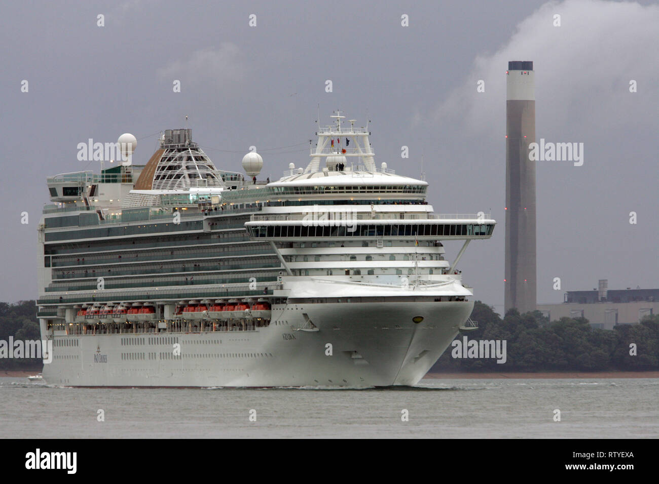 Pollution,Azura, Luxury, travel, luxurious, wedding, honeymoon, suite, cabin,, Cruise Liner, The Solent, Cowes, isle of Wight, England, UK, - Stock Image