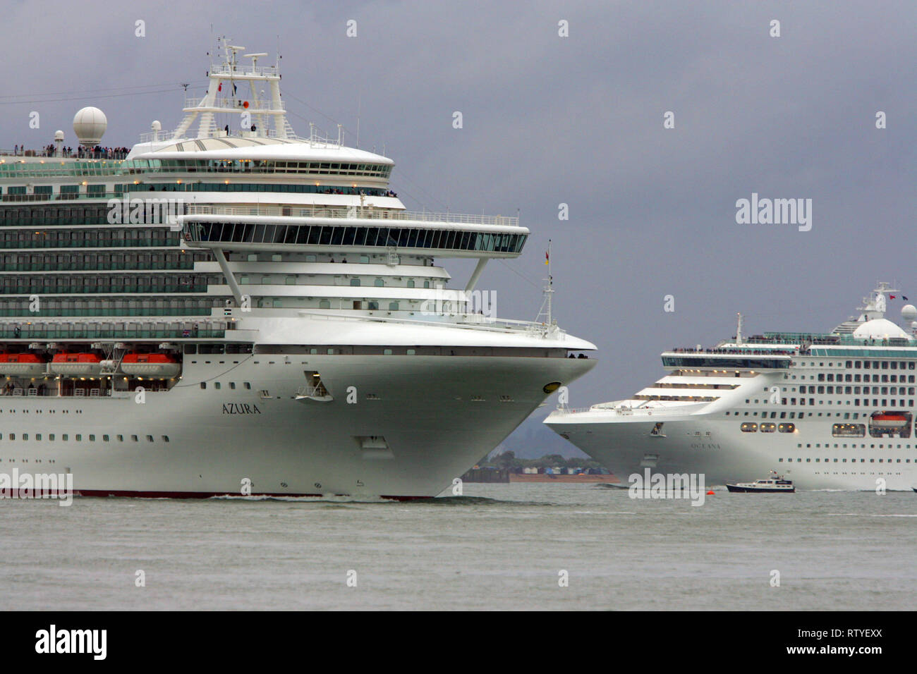 Pollution, Azura, Cruise Liner, The Solent, Cowes, isle of Wight, England, UK, - Stock Image