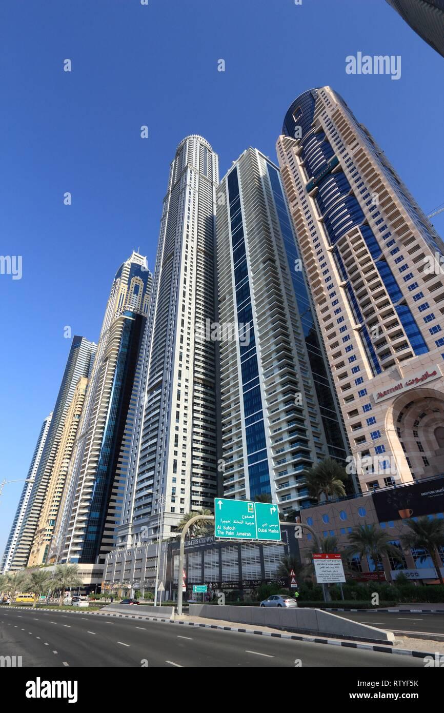 DUBAI, UAE - NOVEMBER 23, 2017: Skyline of Dubai Marina district, United Arab Emirates. Dubai is the most populous city in UAE and a major global city - Stock Image