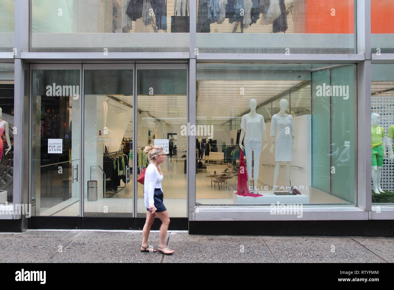 New York Usa July 1 2013 Person Walks By Elie Tahari Store In 5th Avenue New York Elie Tahari Is An Iranian American Fashion Designer And His B Stock Photo Alamy
