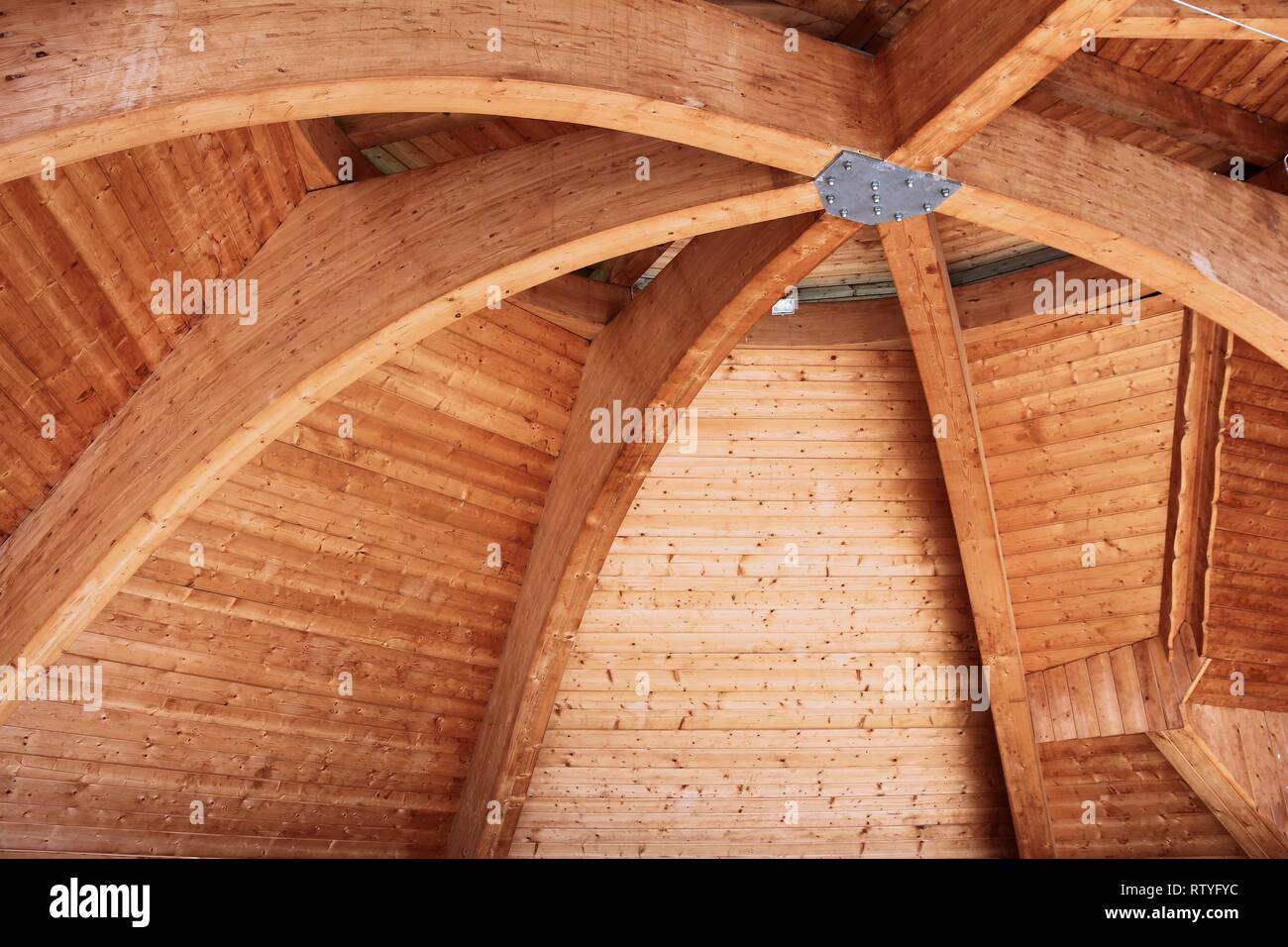 Wooden Roof Structure Curved Beam Traditional Construction Style
