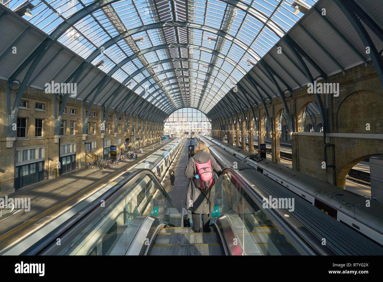 kings cross station escalators Stock Photo