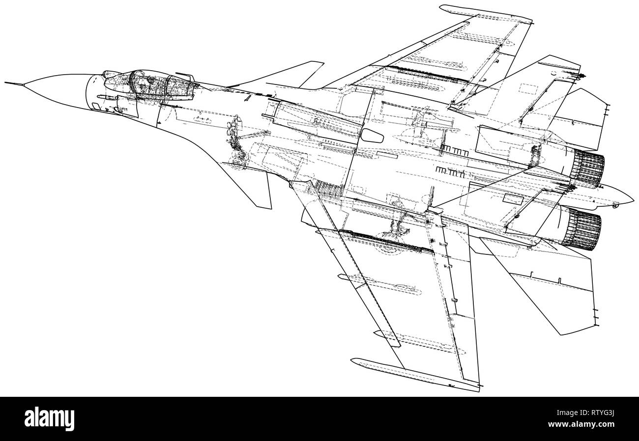 Awesome Russian Jet Fighter Aircraft Vector Wire Frame Concept Created Wiring Digital Resources Funapmognl