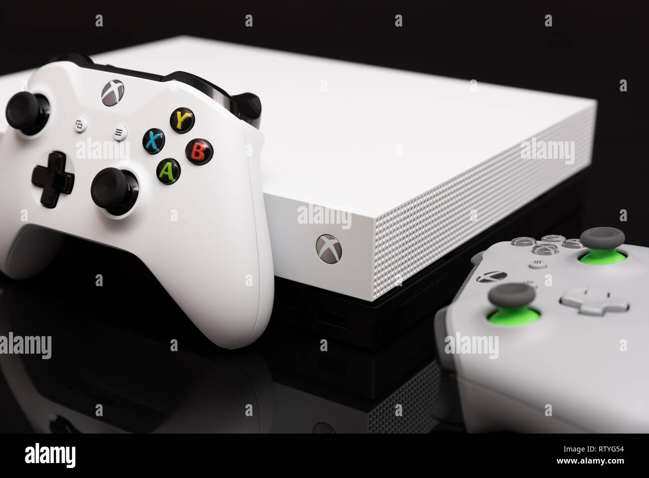 Wroclaw, Poland - JAN 08, 2019: Xbox One X is most powerful generation video gaming console - Stock Image