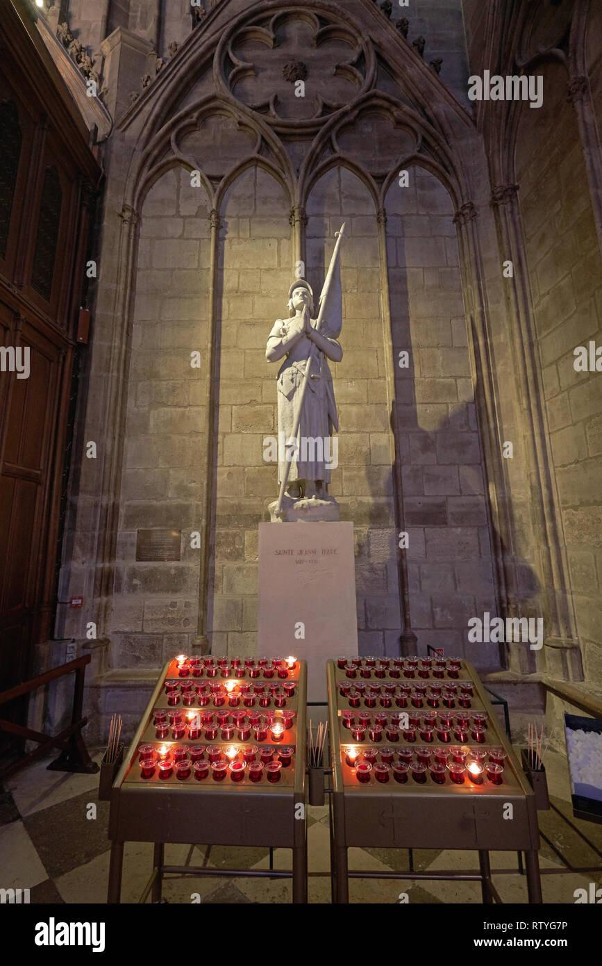 statue of  Joan of Arc Jean d'arc notre dame paris Stock Photo