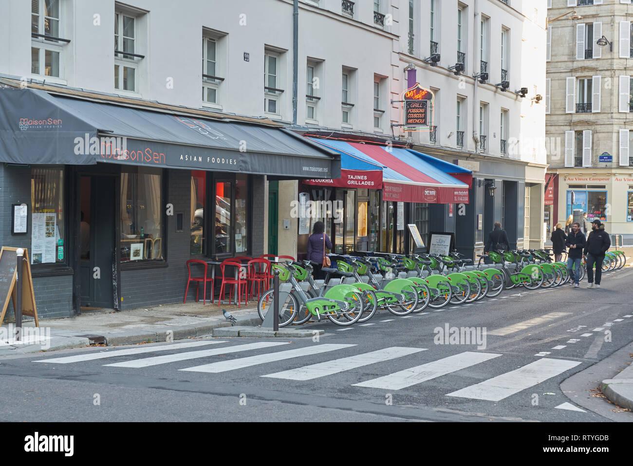 bike hire scheme paris  paris bike hire Stock Photo