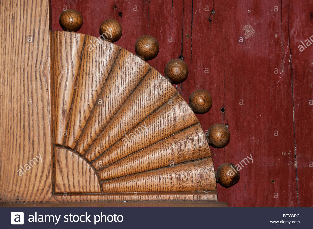 decorative corner wooden moulding Cobourg Ontario Canada - Stock Image