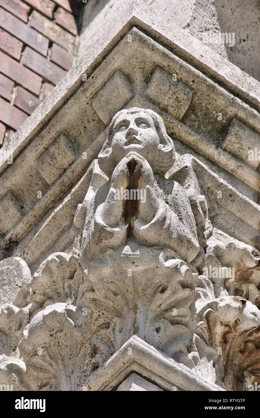 Szeged, Hungary. City in Csongrad county. Votive Church. Neo-romanesque architecture detail. - Stock Image