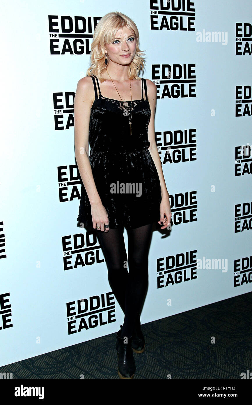 New York, USA. 02 Feb, 2016. Sophie Sumner at The Tuesday, Feb 2, 2016 'Eddie The Eagle' Screening at Landmark Sunshine Theater in New York, USA. Credit: Steve Mack/S.D. Mack Pictures/Alamy - Stock Image