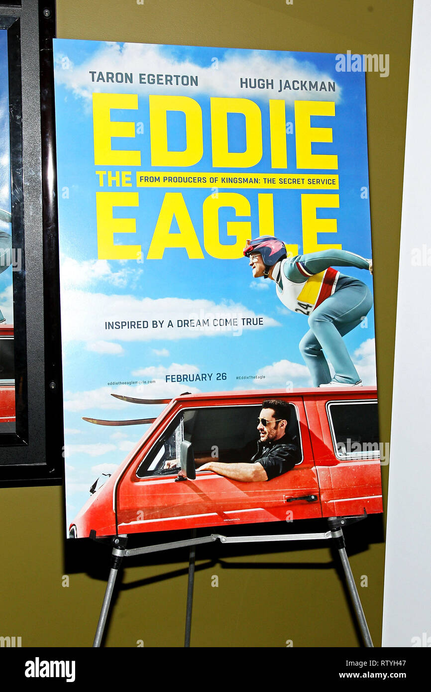 New York, USA. 02 Feb, 2016. Atmosphere at The Tuesday, Feb 2, 2016 'Eddie The Eagle' Screening at Landmark Sunshine Theater in New York, USA. Credit: Steve Mack/S.D. Mack Pictures/Alamy - Stock Image